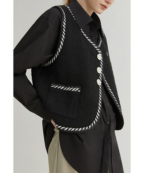 【Fano Studios】【2021AW】Tweed bicolor wool vest FQ21S014