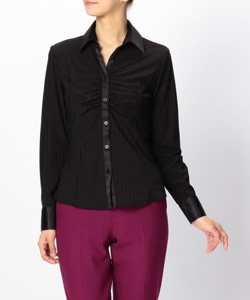 イタリアンジャージーストライプ胸ギャザーシャツ