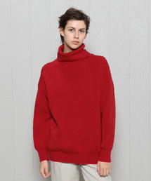 <H>RIB TURTLE NECK KNIT/ニット