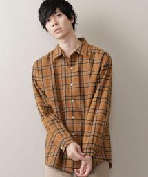 オーバーサイズチェックフランネルシャツ(MONO-MART)ブラウン系その他