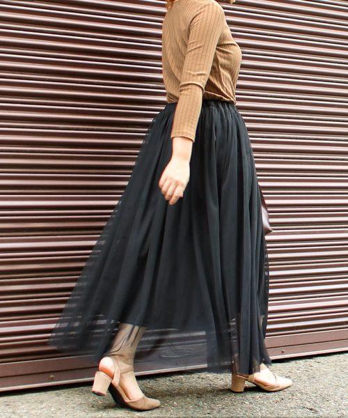 Social GIRL(ソーシャルガール)の「チュールフレアボリュームロングスカート(スカート)」 ブラック