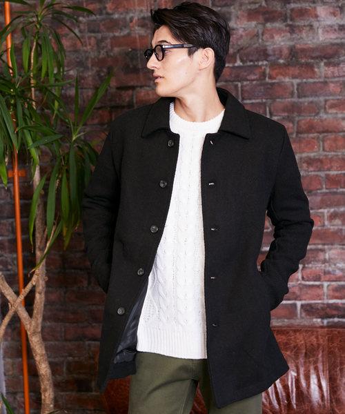 カルゼ織 メルトンステンカラーコート / メンズ ステンカラー コート