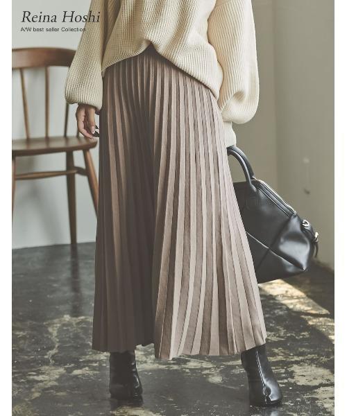 Re:EDIT(リエディ)の「[低身長向けSサイズ有]ソフトニットプリーツ風ロングスカート(スカート)」|グレイッシュベージュ
