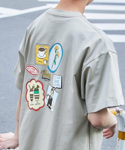 シルケットライク天竺 ビックシルエットイラストプリント/バックプリント 半袖カットソー