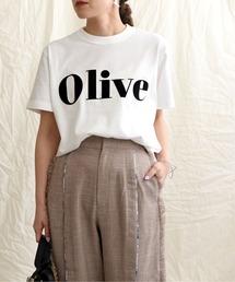 OliveフロッキーロゴプリントTシャツオフホワイト