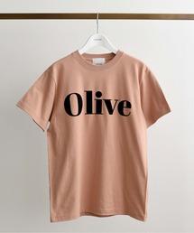 OliveフロッキーロゴプリントTシャツピンク