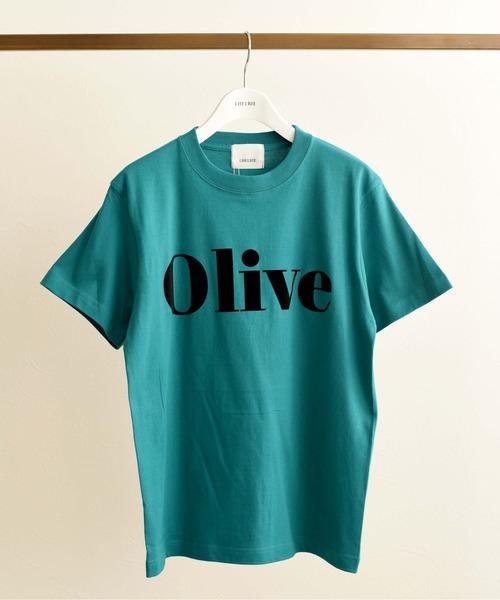 OliveフロッキーロゴプリントTシャツ