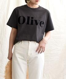 OliveフロッキーロゴプリントTシャツダークグレー
