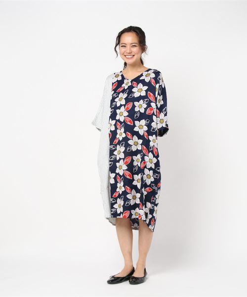 【カヤ】縞花小紋ワンピース