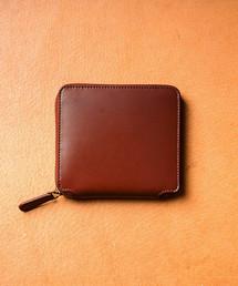 MURA(ムラ)のラウンドファスナーコードバン調/カーボン レザー スクエア 二つ折り財布(財布)