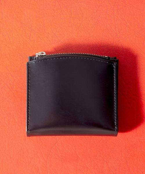 Rename カウレザー マルチファンクショナル ジップ ウォレット ミニウォレット ミニ財布 2つ折り 2フォールド 財布 ブック型 フォーマル 黒