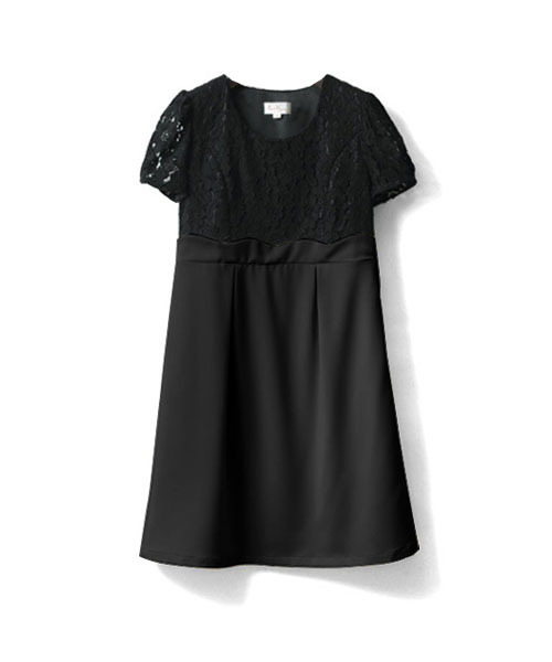 SweetMommy(授乳服&マタニティ)(スウィートマミー)の「ウエストスカラ バイカラーワンピース 半袖(マタニティウェア)」|ブラック×ブラック