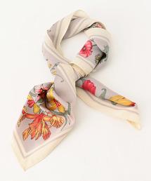 KATHARINE ROSS(キャサリンロス)の【KATHARINE ROSS】 WEB限定 花柄×ボーダー柄ミニスカーフ(バンダナ/スカーフ)