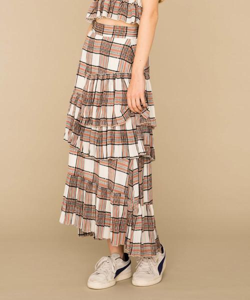 MIXXDAVID(ミックスディビッド)の「MIXXDAVID / SHEER CHECK TIERED SKIRT シアーチェック柄ティアードスカート(スカート)」|ホワイト