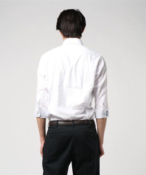 レノマ/renoma HOMME アイスカプセル形態安定白無地ドット柄 ドゥエボタンダウンビジネスドレス7分袖シャツ