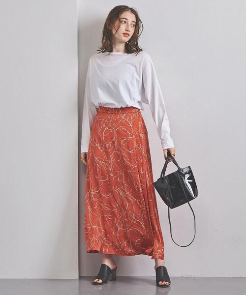 UWFM リーフプリント マキシスカート