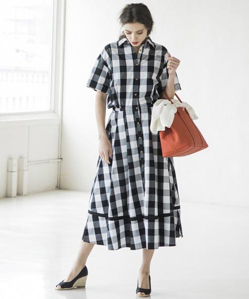 【STYLEBAR】タックフレアシャツドレス