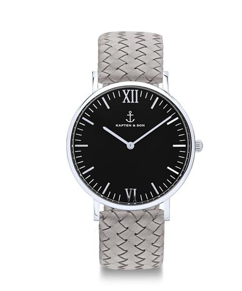 出産祝い 【セール】【KAPTEN&SON】シルバー 36mm ブラック レザーバンド WOVEN LEATHER(腕時計)|KAPTEN&SON(キャプテンアンドサン)のファッション通販, あっときれいあーる:ddc0253a --- kredo24.ru