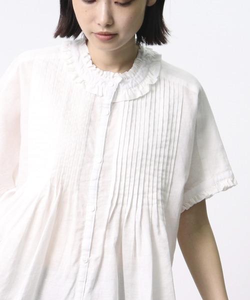 【 ubasoku / ウバソク 】衿カウスフリル 胸多数ピンタックブラウス ub-0118 BNT