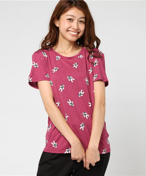 宇宙飛行士プリント スリムクルーネックTシャツ (半袖)