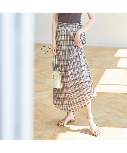 aquagirl(アクアガール)の「チェックプリーツスカート(スカート)」|ライトパープル