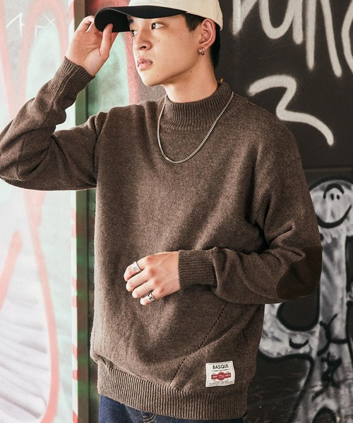 【BASQUE -enthusiastic design-】オーバーサイズ モックネック ニット セーター
