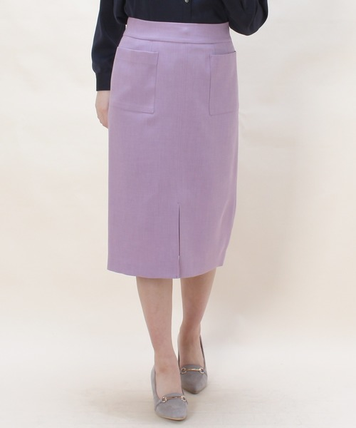 TRUDEA(トルディア)の「(日本製)フロントポケット付きタイトスカート(スカート)」|ラベンダー