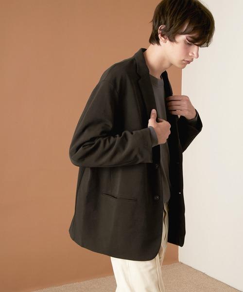 梨地ルーズリラックス ドレープ オーバーサイズ シングルテーラードジャケット EMMA CLOTHES 2021SPRING