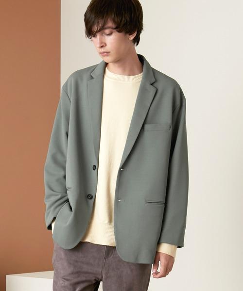 梨地ルーズリラックス ドレープ オーバーサイズ シングルテーラードジャケット/EMMA CLOTHES 2020-2021WINTER (セットアップ対応)