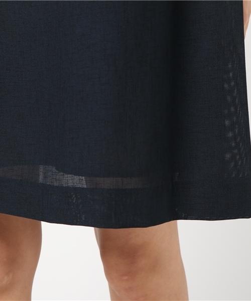 袖異素材使いゆったりドレープワンピース