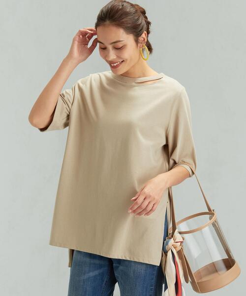 <MGHT>SC デコルテ スリット ロング Tシャツ