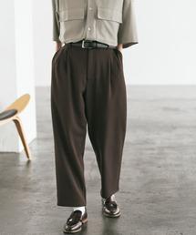 梨地ルーズリラックス テパードワイドパンツ /EMMA CLOTHES 2020AW (セットアップ対応)ダークブラウン