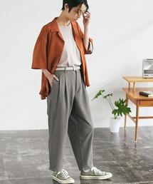 梨地ルーズリラックス テパードワイドパンツ /EMMA CLOTHES 2020AW (セットアップ対応)ブラウン系その他