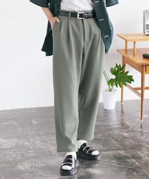 梨地ルーズリラックス テパードワイドパンツ /EMMA CLOTHES 2020AW (セットアップ対応)グリーン系その他