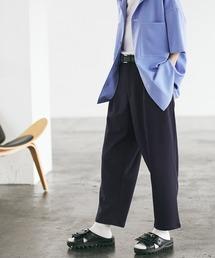 梨地ルーズリラックス テパードワイドパンツ /EMMA CLOTHES 2020AW (セットアップ対応)ダークネイビー