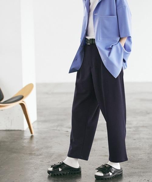 梨地ルーズリラックス テパードワイドパンツ /EMMA CLOTHES(セットアップ対応)