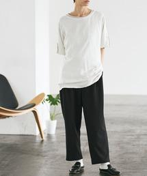 梨地ルーズリラックス テパードワイドパンツ /EMMA CLOTHES 2020AW (セットアップ対応)ブラック