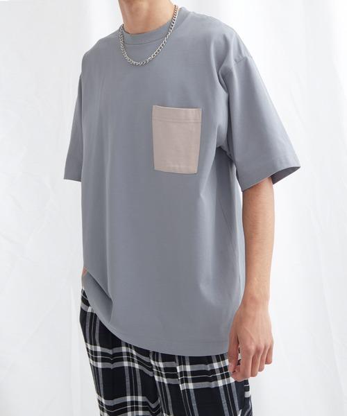 配色ポケットハーフスリーブオーバーサイズカットソー【EMMA CLOTHES/エマクローズ】2021SS