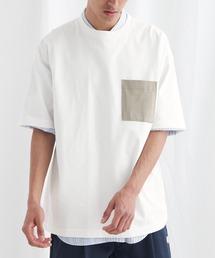 配色ポケットハーフスリーブオーバーサイズカットソー【EMMA CLOTHES/エマクローズ】2021SSホワイト