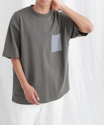 配色ポケットハーフスリーブオーバーサイズカットソー【EMMA CLOTHES/エマクローズ】2021SSチャコール
