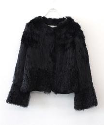 Sugar Rose / rabbit×lamb fur jacket(ラビットファー×ラムファーノーカラージャケット)(ノーカラージャケット)