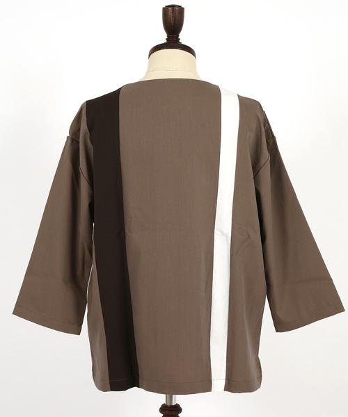 切替8分袖プルオーバーシャツ