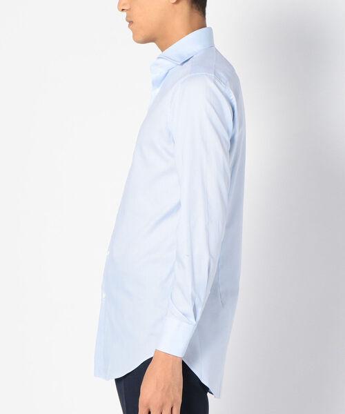 SD: 【ALBINI社製生地】ファインフィット ソリッド ホリゾンタルカラー シャツ(ライトブルー)