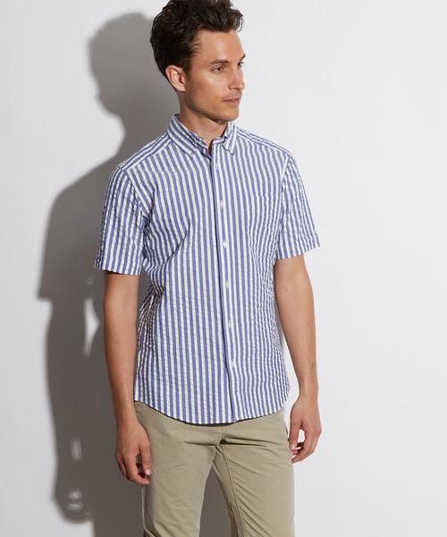 「Cricket」クリケットオリジナル シアサッカーストライプ 半袖ボタンダウンカラーシャツ 日本製