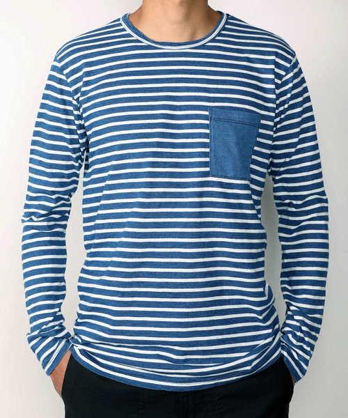 AR321 Indigo Stripe Longsleeve Pocket T-shirt/AR321 インディゴボーダーロングスリーブポケットTシャツ