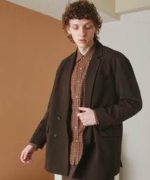 梨地ルーズリラックス ドレープ オーバーサイズ ダブルテーラードジャケット/EMMA CLOTHES 2021S/Sダークブラウン
