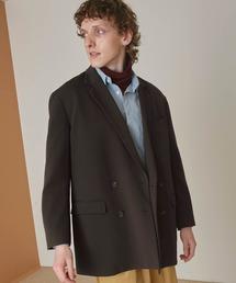 梨地ルーズリラックス ドレープ オーバーサイズ ダブルテーラードジャケット/EMMA CLOTHES 2021S/Sグレー系その他