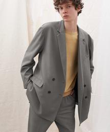 梨地ルーズリラックス ドレープ オーバーサイズ ダブルテーラードジャケット/EMMA CLOTHES 2021S/Sブラウン系その他