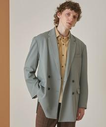 梨地ルーズリラックス ドレープ オーバーサイズ ダブルテーラードジャケット/EMMA CLOTHES 2021S/Sグリーン系その他