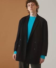梨地ルーズリラックス ドレープ オーバーサイズ ダブルテーラードジャケット/EMMA CLOTHES 2021S/Sブラック
